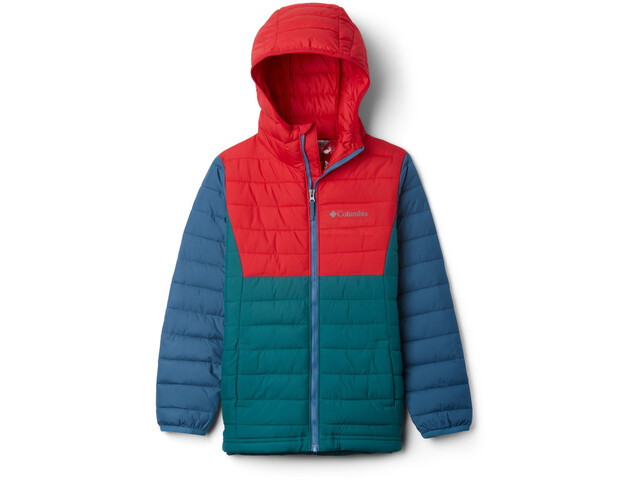 Columbia Powder Lite Veste à capuche Garçon, pine green/mountain red/blue heron